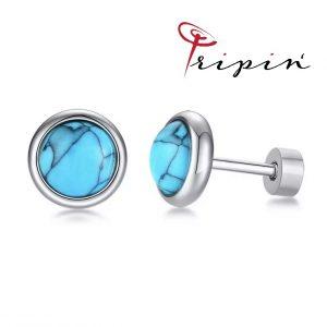 Обеци от неръждаема стомана Tripin' Star Pns – Light blue, снимка 1