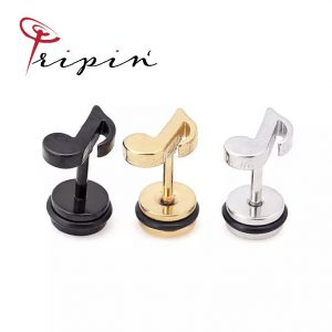 Обеци от неръждаема стомана Tripin' Cute pins - Note, снимка 1