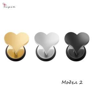 Обеци от неръждаема стомана Tripin' Cute pins - Heart, снимка 3