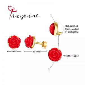 Обеци от неръждаема стомана Tripin' Star Pins – Rose, снимка 2