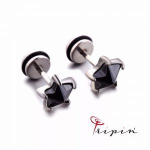 Обеци от неръждаема стомана Tripin' Cute pins - Black star, снимка 1