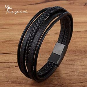 Гривна от неръждаема стомана и кожа Tripin' Steel and leather style – TSLS Model 28, снимка 7