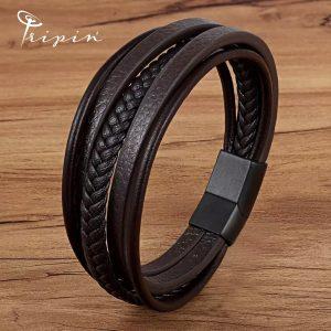 Гривна от неръждаема стомана и кожа Tripin' Steel and leather style – TSLS Model 28, снимка 1